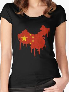 China Paint Drip Women's Fitted Scoop T-Shirt