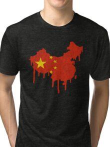 China Paint Drip Tri-blend T-Shirt
