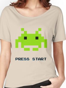 SPACE INVADERS RETRO PRESS START ARCADE TSHIRT Women's Relaxed Fit T-Shirt