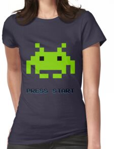 SPACE INVADERS RETRO PRESS START ARCADE TSHIRT Womens Fitted T-Shirt