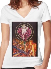 Fire Rose Women's Fitted V-Neck T-Shirt