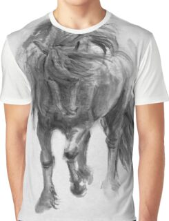 Black Horse sumi-e original watercolor painting Graphic T-Shirt
