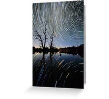 Space Station Startrails Greeting Card