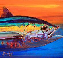 Tuna Portrait- Blufin Tuna Fishing Art by Mike Savlen by Mike Savlen
