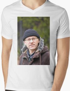 Portrait of man in light of the natural Mens V-Neck T-Shirt