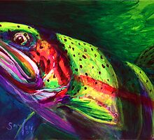 Glimpse Of A Cutthroat- Cutthroat Trout Fly Fishing Painting  by Mike Savlen