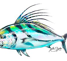 Roosterfish Study - Rooster Fish Fishing Illustration  by Mike Savlen