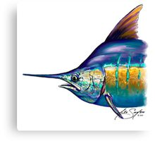 Marlin Portrait - Sport Fishing Fish Drawing Mike Savlen Art Canvas Print