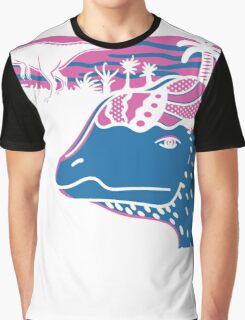 Dilophosaurus Duo - Magenta and Blue Graphic T-Shirt