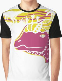 Dilophosaurus Duo - Yellow and Pink Graphic T-Shirt