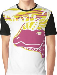 Dilophosaurus Duo - Yellow and Pink Graphic T-Shirt