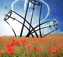 Spitfire Sentinel in the Field of Poppies by Smudgers Art