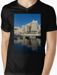 Bright Blue LOVE, Upside Down - Malta's St Julian's Harbor Mens V-Neck T-Shirt
