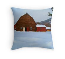 The field of Red Barns.. Throw Pillow
