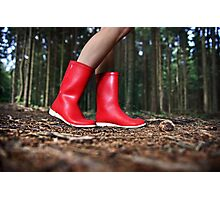 Girl in the Red Gum Boots Photographic Print