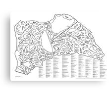 Race Tracks to Scale - Listed and Labelled Canvas Print