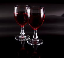 Two Glasses of Red Wine by Riaan Roux