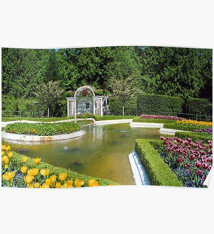 Fountain & Flowers- Butchart Gardens, Victoria, British Columbia Poster