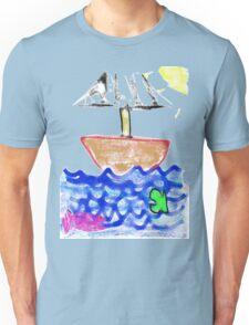 Sailing Above the Fish - Children's Art of the Ocean Blue Unisex T-Shirt