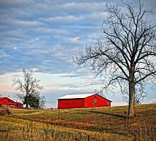 """Red Barns Against a Cold Winter Sky"" by Melinda Stewart Page"