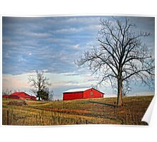 """Red Barns Against a Cold Winter Sky"" Poster"