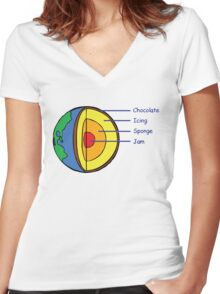 The Earth is a Cake. Women's Fitted V-Neck T-Shirt