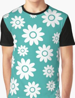 Teal Fun daisy style flower pattern Graphic T-Shirt