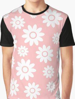 Light Pink Fun daisy style flower pattern Graphic T-Shirt