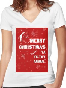 Funny Merry Christmas Filthy Animal Women's Fitted V-Neck T-Shirt