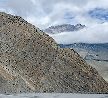 Clearly visible layered geological structure of Nepalese mountain by Sergey Orlov