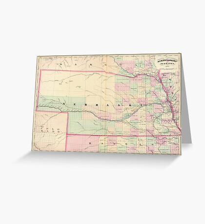Vintage Map of Nebraska (1874) Greeting Card