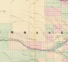 Vintage Map of Nebraska (1874) Sticker