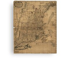 Vintage Map of The New England Coast (1771) Canvas Print