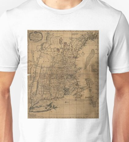 Vintage Map of The New England Coast (1771) Unisex T-Shirt
