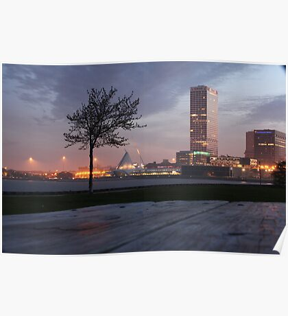 Milwaukee Night Cityscape Poster