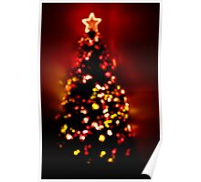 Christmas Tree Lights in Red Poster