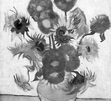 Vincent Van Gogh - Sunflowers (Black and White) by lifetree