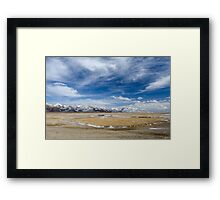 Amazing view of high Tibetan plateau and cloudy sky  Framed Print