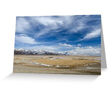 Amazing view of high Tibetan plateau and cloudy sky  Greeting Card