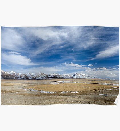 Amazing view of high Tibetan plateau and cloudy sky  Poster