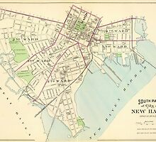 Vintage Map of New Haven Connecticut (1893) by BravuraMedia