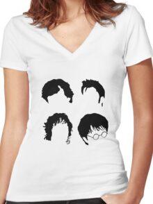 Doctor Who+Sherlock+LoTR+Harry Potter FOR LIGHT COLOURS Women's Fitted V-Neck T-Shirt