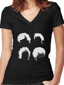 Doctor Who+Sherlock+LoTR+Harry Potter FOR DARK COLOURS Women's Fitted V-Neck T-Shirt