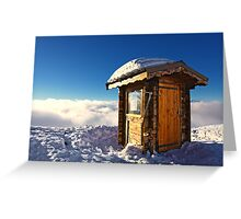 Sunlit Hut Above Clouds in the French Alps Greeting Card