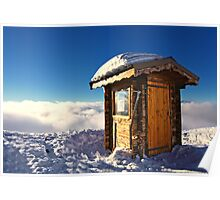 Sunlit Hut Above Clouds in the French Alps Poster