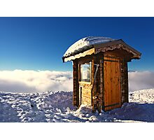 Sunlit Hut Above Clouds in the French Alps Photographic Print