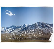 Beautiful snowy Tibetan high mountain landscape with the lonely cloud Poster