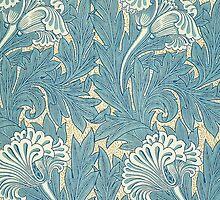 William Morris Tulip furnishing fabric in Blue by Heidi Hermes