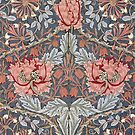 William Morris Floral Pattern in Red and Blue by Heidi Hermes