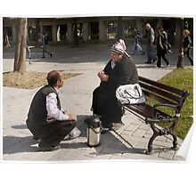 People in Istanbul - The Turkish tea seller and the Uzbek lady Poster